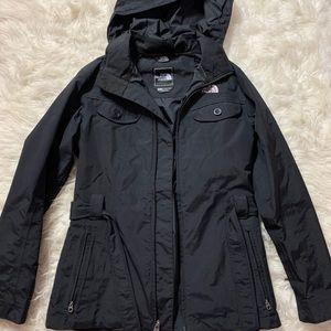 Black north face rain coat